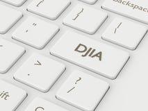 3d rendem do teclado de computador com o botão do índice de DJIA Imagens de Stock Royalty Free