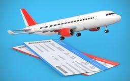 3d rendem dois da linha aérea, bilhetes de trajetória aérea com avião, avião de passageiros no fundo azul Foto de Stock Royalty Free