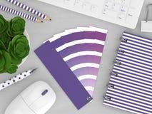 3d rendem dos artigos de papelaria com guia da paleta de cores Fotos de Stock