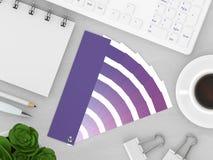 3d rendem dos artigos de papelaria com guia da paleta de cores Imagens de Stock