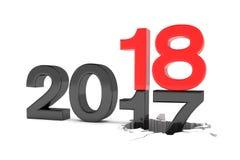 3d rendem dos números 2017 no preto e 18 no vermelho sobre o branco ilustração do vetor