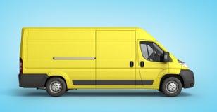 3d rendem a entrega amarela Van Icon no inclinação Fotos de Stock Royalty Free