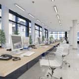 3d rendem - escritório de plano aberto - o prédio de escritórios ilustração stock