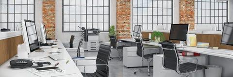 3d rendem - escritório de plano aberto - o prédio de escritórios - panorama ilustração royalty free