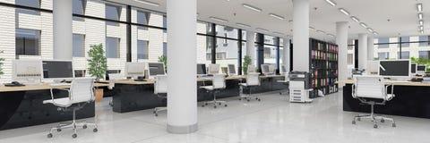 3d rendem - escritório de plano aberto - o prédio de escritórios - panorama ilustração stock