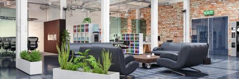 3d rendem - escritório de plano aberto - o prédio de escritórios ilustração royalty free