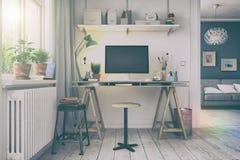 3d rendem - escritório domiciliário nórdico escandinavo - o olhar retro Imagem de Stock Royalty Free