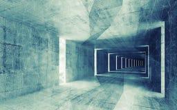 3d rendem, esverdeiam o interior vazio abstrato tonificado azul Fotografia de Stock Royalty Free