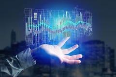 3d rendem a exposição de informação de troca dos dados da bolsa de valores na Fotografia de Stock Royalty Free