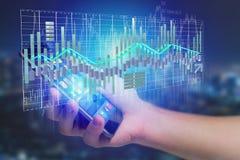3d rendem a exposição de informação de troca dos dados da bolsa de valores na Foto de Stock