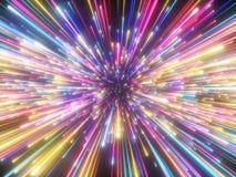 3d rendem, fogos de artifício coloridos, golpe grande, galáxia, fundo cósmico abstrato, celestial, beleza do universo, luz de néo ilustração stock