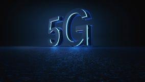 3D rendem a fonte 5G futurista com luz de néon azul ilustração do vetor