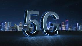 3D rendem a fonte 5G futurista com luz de néon azul ilustração stock