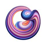 3d rendem, fundo abstrato, forma curvada moderna, deformação, laço, linhas coloridas, luz de néon, objeto distorcido azul vermelh ilustração royalty free