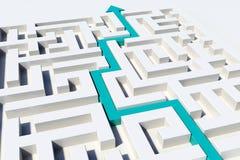 3D rendem a ilustração de um caminho que mostra a maneira através de um labirinto Imagens de Stock