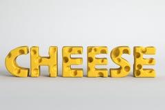 3d rendem a ilustração do queijo da palavra fotografia de stock royalty free