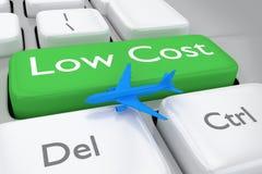 3D rendem a ilustração do teclado da ordem dos voos do baixo custo Fotografia de Stock Royalty Free