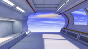 3d rendem Interior futurista da nave espacial ilustração stock