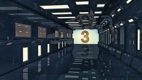 3d rendem Interior futurista da nave espacial Imagens de Stock