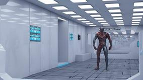 3d rendem Interior futurista da nave espacial Foto de Stock