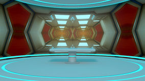 3d rendem Interior futurista da nave espacial Fotografia de Stock