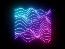 3d rendem, linhas de néon onduladas azuis cor-de-rosa, equalizador virtual da música eletrônica, onda sadia, fundo abstrato cl ilustração royalty free