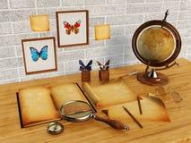 3D rendem, livro velho e papéis velhos na tabela Imagem de Stock Royalty Free