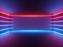 3d rendem, luz de néon azul vermelha, linhas de incandescência, tela horizontal vazia, espectro ultravioleta, sala vazia, fundo a fotos de stock royalty free