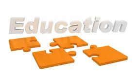 3D rendem mostrar a educação da palavra em partes do enigma Fotografia de Stock Royalty Free