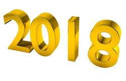 2018 3D rendem no ouro, com o trajeto de grampeamento para a transparência ou o al Imagem de Stock