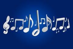 3d rendem notas da música em um fundo da cor Foto de Stock
