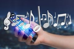3d rendem notas da música em uma relação futurista Fotos de Stock Royalty Free