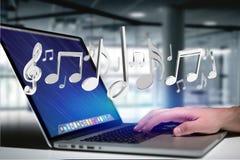 3d rendem notas da música em uma relação futurista Fotografia de Stock Royalty Free