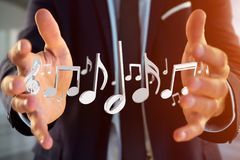 3d rendem notas da música em uma relação futurista Fotos de Stock