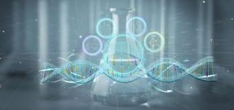 3d rendem o ADN em um fundo médico Fotografia de Stock