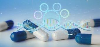 3d rendem o ADN em um fundo médico Fotos de Stock