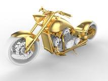 3D rendem - o conceito dourado da motocicleta ilustração royalty free