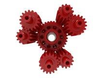 3D rendem - o conjunto vermelho das engrenagens ilustração stock