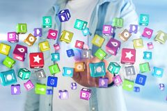 3D rendem o cubo da aplicação de Colorfull indicado em um i futurista Foto de Stock