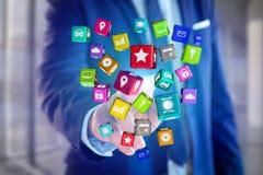 3D rendem o cubo da aplicação de Colorfull indicado em um i futurista Imagem de Stock