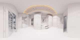 3d rendem o design de interiores do salão no estilo clássico Fotos de Stock Royalty Free