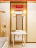 3d rendem o design de interiores islâmico do estilo do banheiro Fotografia de Stock