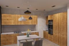3d rendem o design de interiores na cozinha escandinava do estilo Imagem de Stock Royalty Free