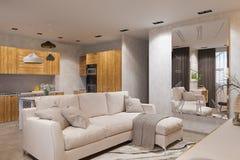 3d rendem o design de interiores no estilo escandinavo, na sala de visitas e na cozinha Foto de Stock Royalty Free