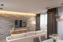 3d rendem o design de interiores no estilo escandinavo, na sala de visitas e na cozinha Imagem de Stock Royalty Free