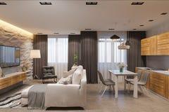 3d rendem o design de interiores no estilo escandinavo, na sala de visitas e na cozinha Imagens de Stock Royalty Free