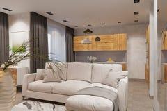 3d rendem o design de interiores no estilo escandinavo, na sala de visitas e na cozinha Imagens de Stock