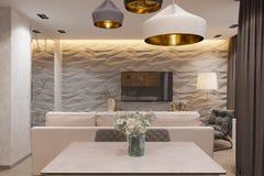 3d rendem o design de interiores no estilo escandinavo, sala de visitas Foto de Stock