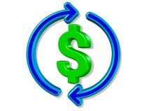 3D rendem o dinheiro reciclam a moeda do dólar Imagens de Stock Royalty Free