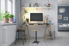 3d rendem - o escritório domiciliário nórdico escandinavo Imagem de Stock Royalty Free